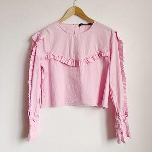 pastel pink ruffled raw hem cropped blouse